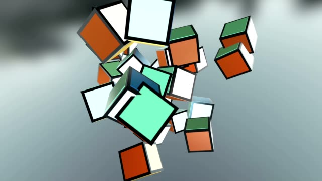 colored cube spinning - color block stock videos and b-roll footage