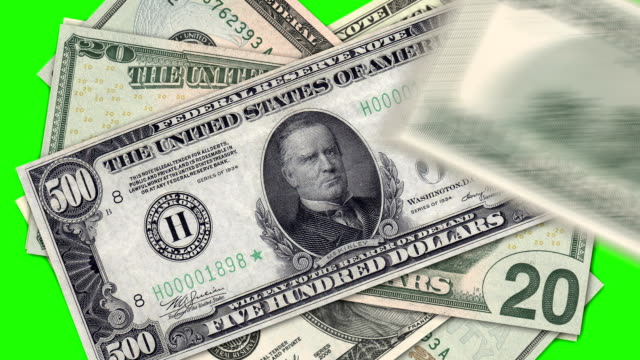 Colored dollar symbol on green background