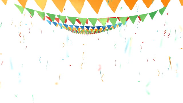 colored flags, triangular flags on rope - fiesta background stock videos & royalty-free footage
