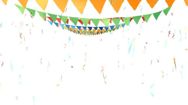 stockvideo's en b-roll-footage met gekleurde vlaggen, driehoekige vlaggen op touw - guirlande