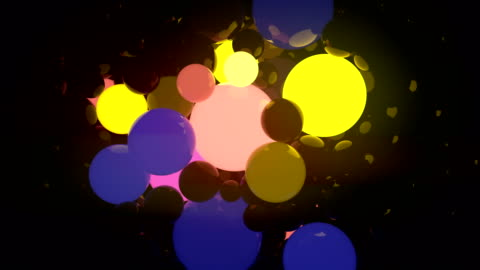 colored glowing balls on black background. digital animation 3d rendering. 4k, ultra hd resolution - motion graphics stock videos & royalty-free footage