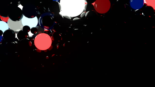 colored glowing balls on black background. digital animation 3d rendering. 4k, ultra hd resolution - palla sportiva video stock e b–roll