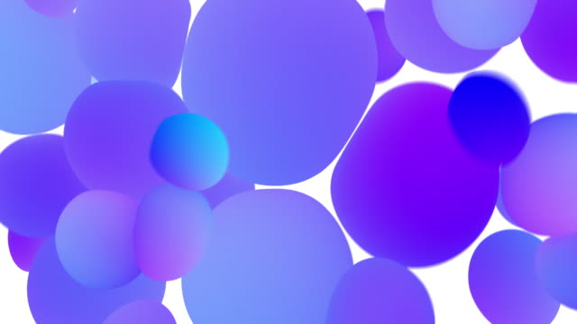 Colored glowing balls on white background. Digital animation 3d rendering