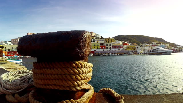 Colored houses of Ponza, harbor in Tyrrhenian Sea