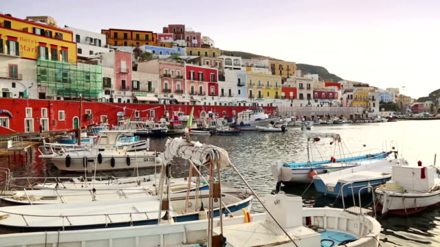 Colored houses of Ponza, harbor in Tyrrhenian Sea