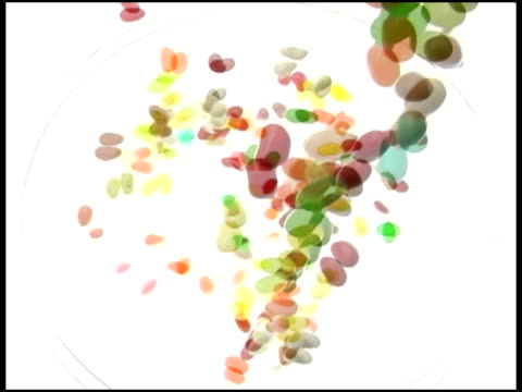 colored jelly beans droping into  dish,studio, fukuoka, japanjelly beans - jellybean stock videos & royalty-free footage