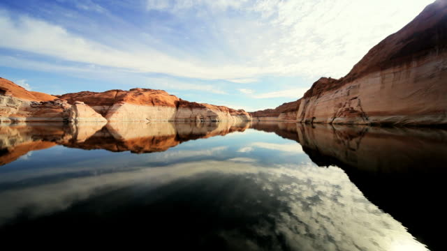 ws pov colored layers in rocks of lake showing dropping water levels due to environmental / arizona,united states   - boat point of view stock videos & royalty-free footage