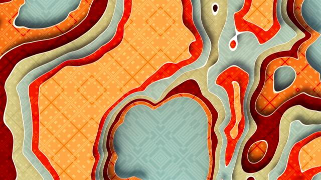 色付きの多層アニメーション紙の背景。抽象的なペーパーカットエレガントな波状の幾何学的なモーション映像。シームレスなループ。3d レンダリング ビデオ アニメーション。4k、ウルトラ - デジタル合成点の映像素材/bロール