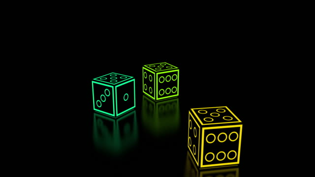 colored neon dice falling from the top in fives - dice stock videos & royalty-free footage