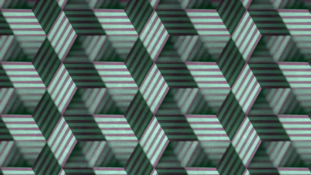 farbiges muster von beweglichen gestreiften boxen auf alter schmutziger oberfläche. verziertes bewegungsgrafikdesign mit einer schärfentiefe. 3d-rendering nahtlose schleifenanimation. 4k, ultra hd auflösung - illusion stock-videos und b-roll-filmmaterial