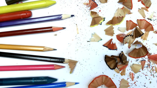 colored pencils and shavings - colored pencil stock videos and b-roll footage