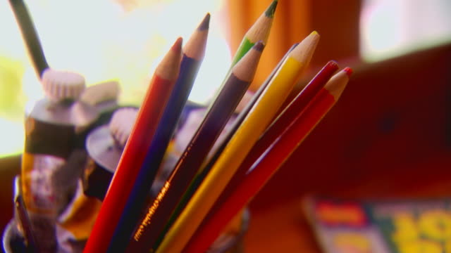 colored pencils in jar, extreme close up - paint tube stock videos and b-roll footage
