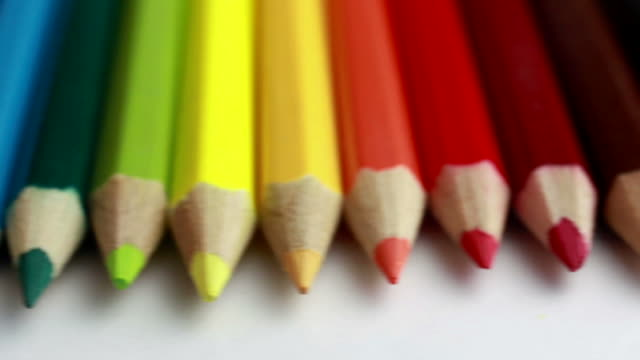 colored pencils - pencils in a row stock videos & royalty-free footage