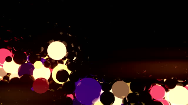 colored reflective glowing balls on black background. digital animation 3d rendering. 4k, ultra hd resolution - covering stock videos & royalty-free footage