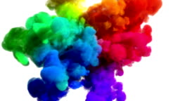 "Colored smoke explosion on white ""Spectrum"", variation 1"