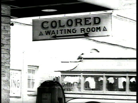 Colored waiting room sign at bus station / Richmond Virginia USA