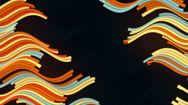 colored wavy motion lines on dark background for graphic design. 3d rendering digital seamless loop animation. 4k, ultra hd resolution - inarcare la schiena video stock e b–roll
