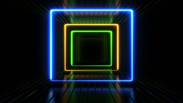 colorful 3d abstract frame corridor on black background - music video stock videos & royalty-free footage