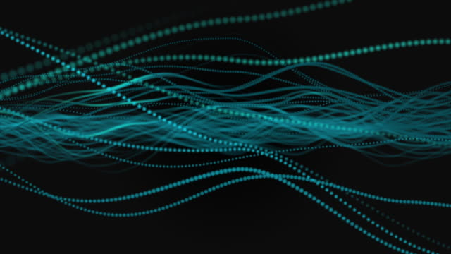 colorful abstract waving particle lines on dark background - linea video stock e b–roll