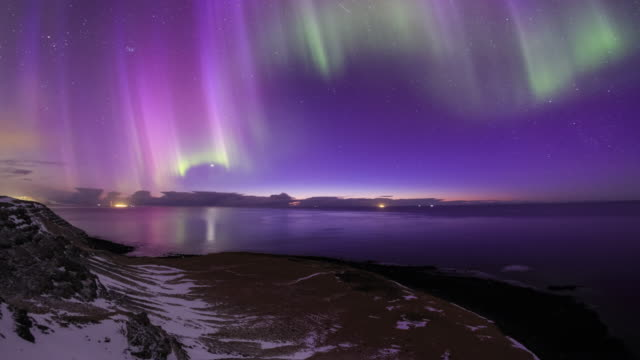 Colorful Aurora Over Atlantic Ocean