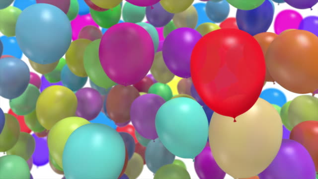 colorful balloon flying transition with alpha mate,celebration and birthday concept - balloon stock videos & royalty-free footage