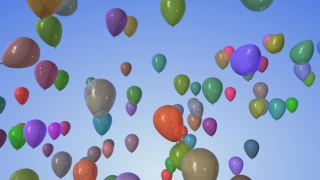 vidéos et rushes de cgi colorful balloons floating against blue background - ballon de baudruche