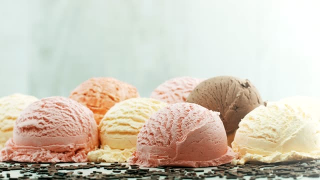 colorful balls of ice cream - serving scoop stock videos & royalty-free footage