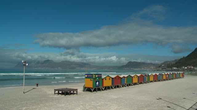 WS Colorful beach huts on Muizenberg Beach, Cape Town, Western Cape, South Africa