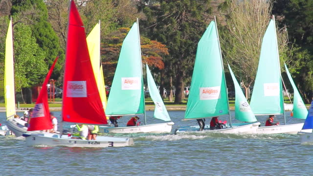 ms colorful boats sailing on albert park lake / melbourne, victoria, australia - セールボート点の映像素材/bロール