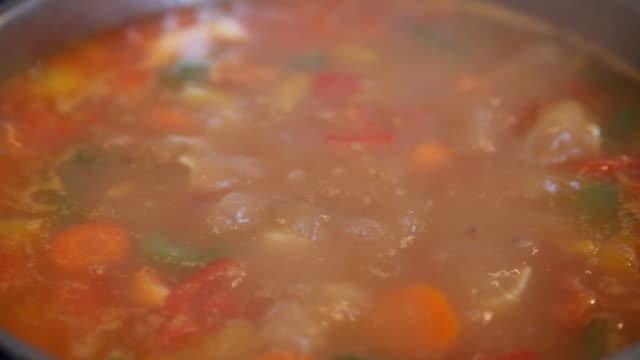 vídeos y material grabado en eventos de stock de colorido estofado de gulasch de ebullición - hervir