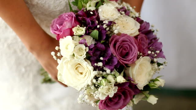 colorful bridal bouquet - bouquet stock videos and b-roll footage