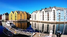 Colorful buildings along the coast - Alesund (timelapse)