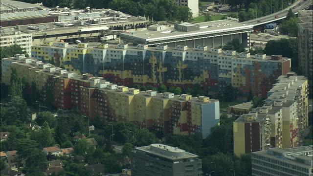 AERIAL Colorful buildings around Avenue de Baptista, Geneva, Switzerland