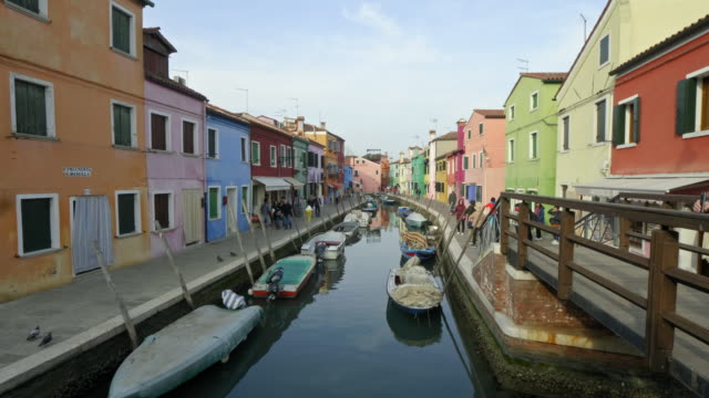 colorful buildings by canal - venice italy stock videos & royalty-free footage