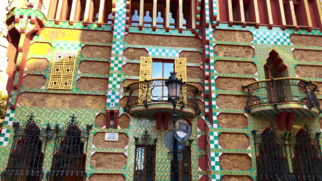 colorful casa vicens from antoni gaudi architect in barcelona. - modern art stock videos & royalty-free footage