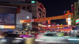Colorful Chinatown in Bangkok, Thailand, Time Lapse Video