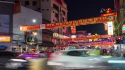 Colorful Chinatown with Tourists in Bangkok, Thailand, Time Lapse Video