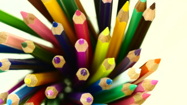 Colorful color pencil. Top view. From left to right.