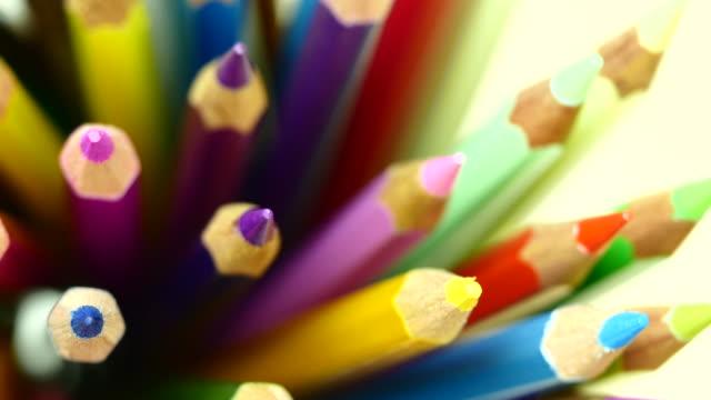 Colorful color pencil. Top view.