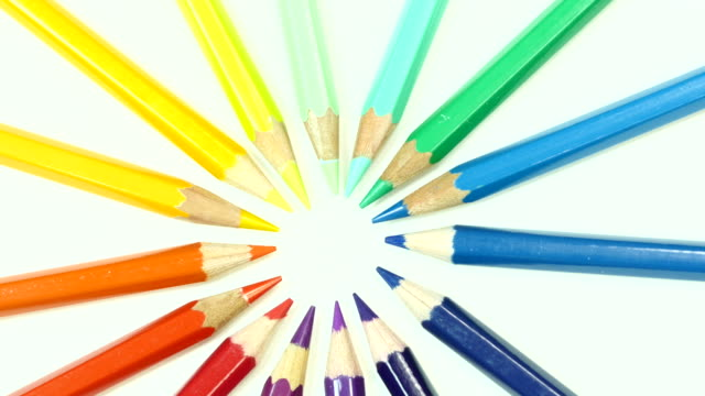 Colorful color pencil. Top view.