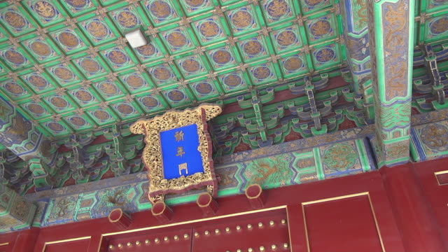 colorful decoration of ceiling at temple of heaven, beijing, china - temple of heaven stock videos & royalty-free footage