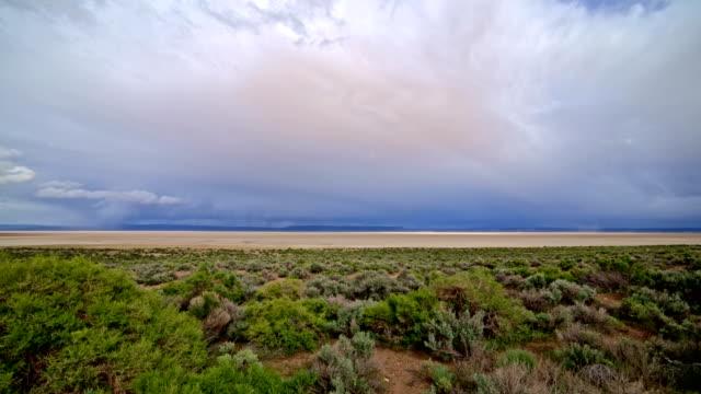 colorful desert playa cracked earth alvord desert and storm 1 - セージブラッシュ点の映像素材/bロール