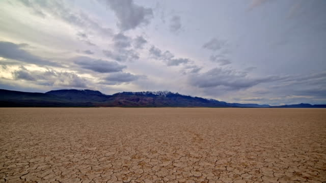 Colorful desert playa cracked earth Alvord Desert and storm Steens Mountain in distance 3