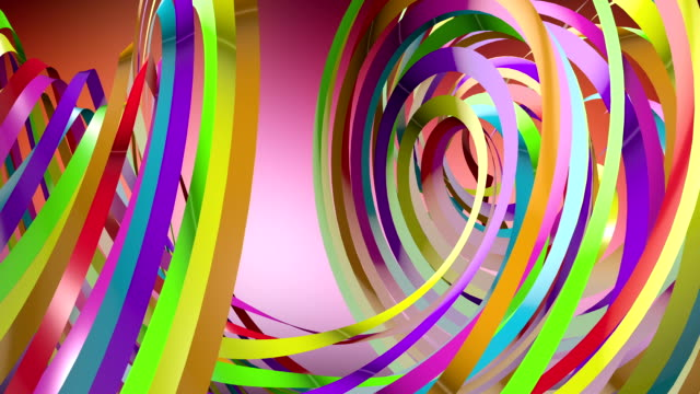 colorful distorted ribbons flowing in the air - award ribbon stock videos and b-roll footage