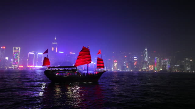 vidéos et rushes de ws colorful downtown skyline from across harbor / hong kong, china - jonque
