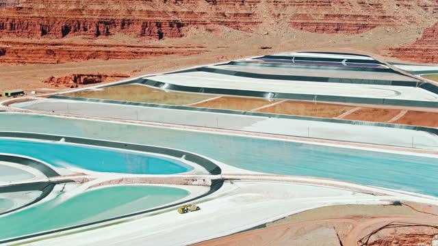 colorful evaporation ponds at potash mine near moab, utah - aerial - mining stock videos & royalty-free footage