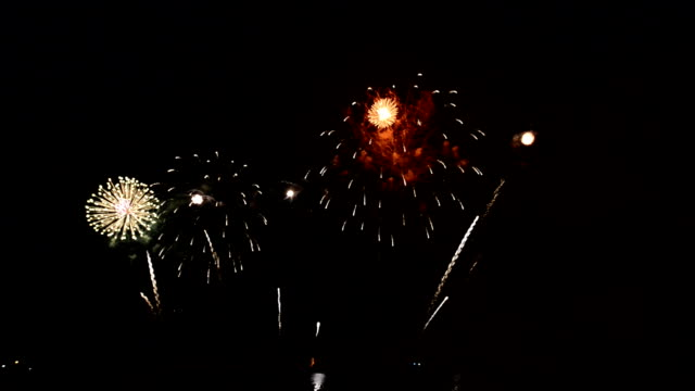 colorful fireworks exploding in the night sky - july stock videos & royalty-free footage