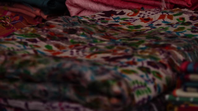 colorful folded quilts - folded stock videos and b-roll footage