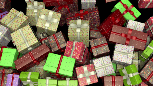 colorful gift boxes filling screen 4k alpha - santa claus stock videos & royalty-free footage