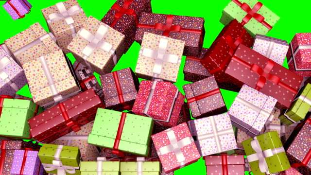 colorful gift boxes filling screen 4k green screen - christmas gift stock videos & royalty-free footage
